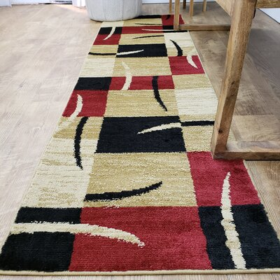Pasha Maxy Home Contemporary Boxes Red/Ivory Area Rug Rug Size: Runner 111 x 611