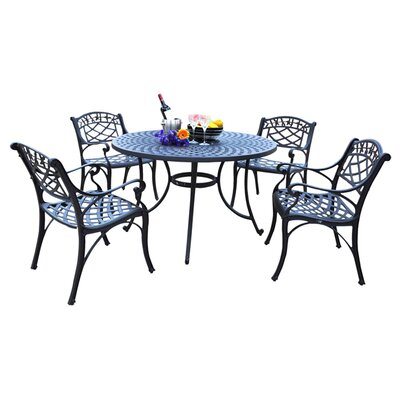 Lomax 5 Piece Outdoor Dining Set Table Size: 48