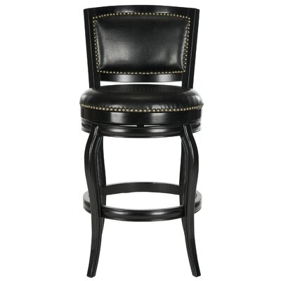 Rockton 29 Swivel Bar Stool Finish: Walnut, Upholstery: Brown