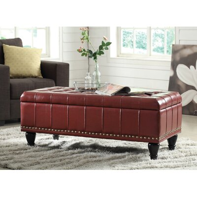 Diederich Leather Ottoman Upholstery: Crimson Red
