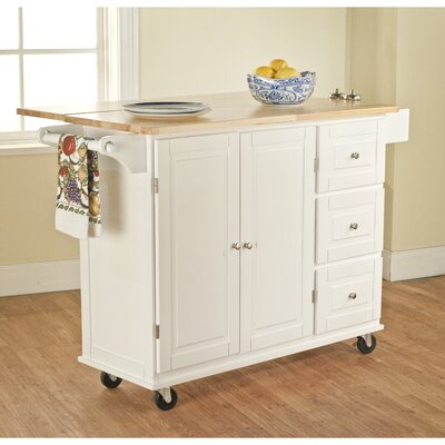 Hardiman Kitchen Island with Wood Top Base Finish: White