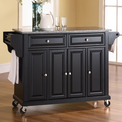 Pottstown Kitchen Cart/Island with Granite Top Base Finish: Black