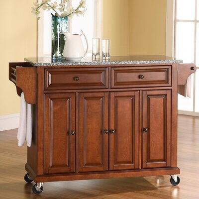 Pottstown Kitchen Cart/Island with Granite Top Base Finish: Classic Cherry
