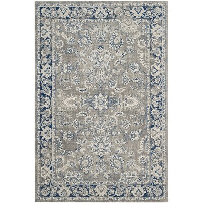 Harwood Power Loom Cotton Gray/Blue Area Rug Rug Size: Rectangle 4 x 6