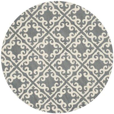 Lima Gray/Ivory Area Rug Rug Size: Round 6