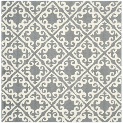 Lima Gray/Ivory Area Rug Rug Size: Square 6
