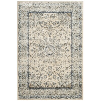 Persian Garden Vintage Ivory/Light Blue Area Rug Rug Size: 51 x 77