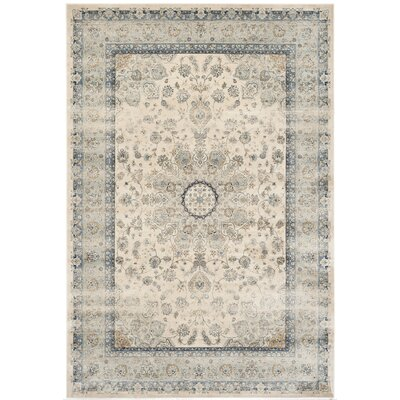 Persian Garden Vintage Ivory/Light Blue Area Rug Rug Size: Rectangle 4 x 57
