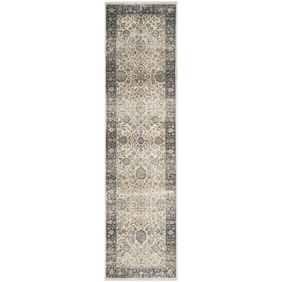Persian Garden Vintage Ivory/Navy Area Rug Rug Size: Runner 22 x 8