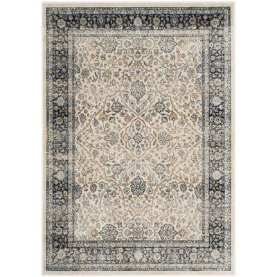Persian Garden Vintage Ivory/Navy Area Rug Rug Size: Rectangle 67 x 92