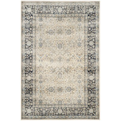 Persian Garden Vintage Ivory/Navy Area Rug Rug Size: Rectangle 51 x 77