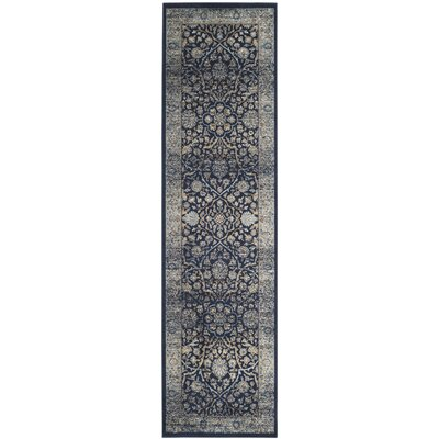 Persian Garden Vintage Navy/Light Blue Area Rug Rug Size: Rectangle 67 x 92