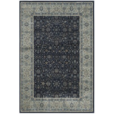 Persian Garden Vintage Navy/Light Blue Area Rug Rug Size: 51 x 77