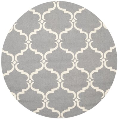 Cambridge Tufted Wool Dark Gray/Ivory Area Rug Rug Size: Round 6