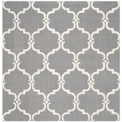 Cambridge Tufted Wool Dark Gray/Ivory Area Rug Rug Size: Square 6