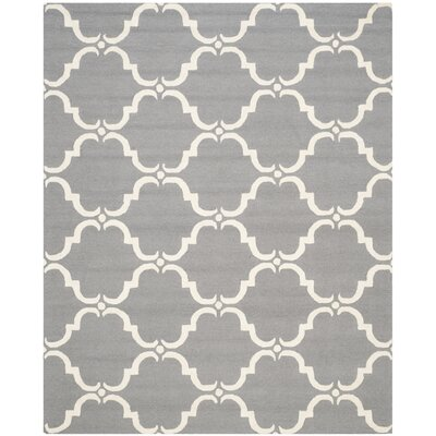 Cambridge Dark Gray/Ivory Area Rug Rug Size: Round 6