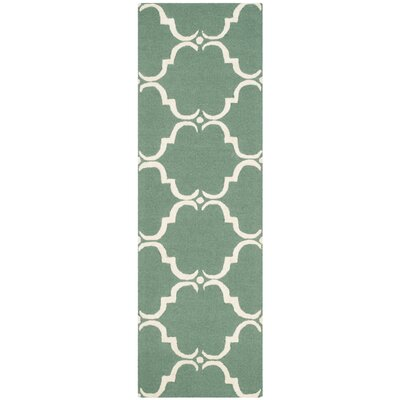 Cambridge Tufted Wool Teal/Ivory Area Rug Rug Size: Runner 26 x 8