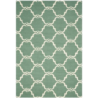 Cambridge Teal/Ivory Area Rug Rug Size: 6 x 9