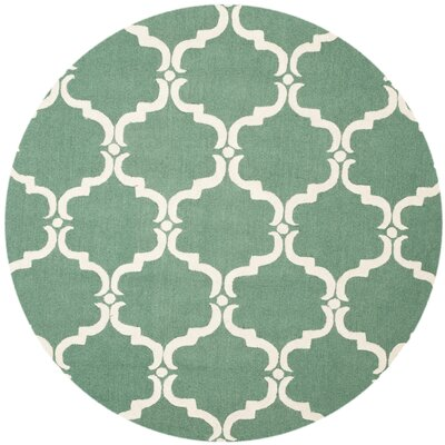 Cambridge Tufted Wool Teal/Ivory Area Rug Rug Size: Round 6