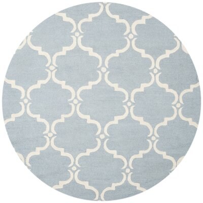 Cambridge Tufted Wool Blue/Ivory Area Rug Rug Size: Round 8