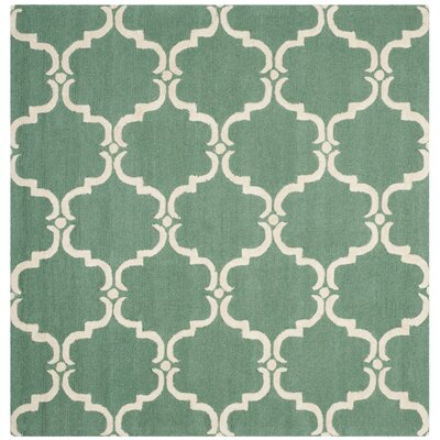 Cambridge Tufted Wool Teal/Ivory Area Rug Rug Size: Square 6