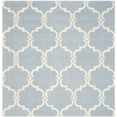 Cambridge Tufted Wool Blue/Ivory Area Rug Rug Size: Square 6
