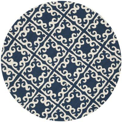 Lima Navy/Ivory Area Rug Rug Size: Round 6