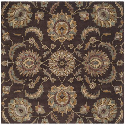 Heritage Brown/Gold Area Rug Rug Size: Square 6