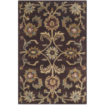 Heritage Brown/Gold Area Rug Rug Size: 4 x 6