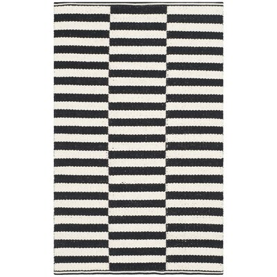 Boody Ivory/Black Area Rug Rug Size: 4 x 6