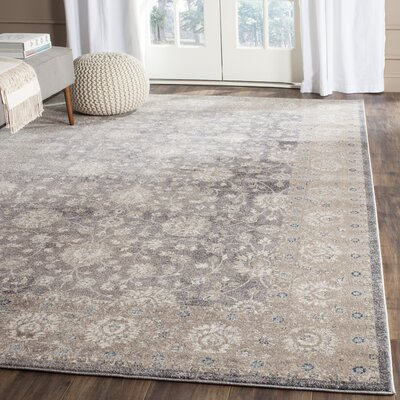 Sofia Power Loom Synthetic Beige/Gray Area Rug Rug Size: Rectangle 51 x 77