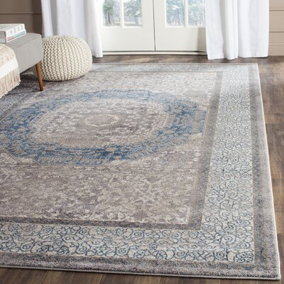 Sofia Light Gray/Blue Area Rug Rug Size: Rectangle 9 x 12