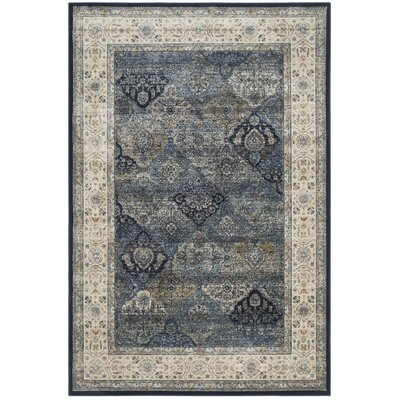 Persian Garden Vintage Navy/Ivory Area Rug Rug Size: 51 x 77