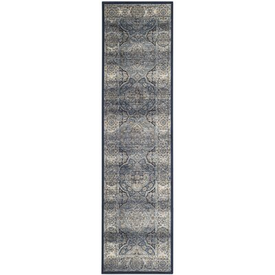 Persian Garden Vintage Navy/Ivory Area Rug Rug Size: Runner 22 x 8
