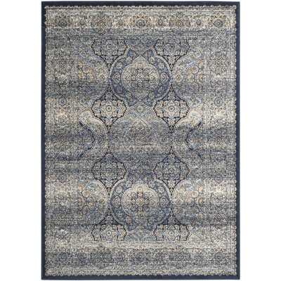 Persian Garden Vintage Navy/Ivory Area Rug Rug Size: Rectangle 4 x 57