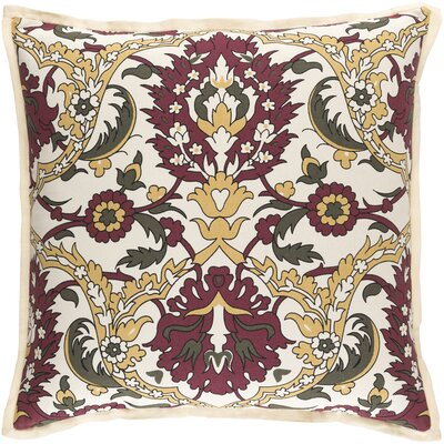 Coeur Throw Pillow Color: Gold/Burgundy/Olive/Black/Ivory, Size: 22 H x 22 W x 4 D