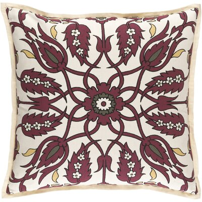 Chafin Linen Throw Pillow Size: 22 H x 22 W x 4 D, Color: Burgundy/Olive/Sunflower/Black/Ivory