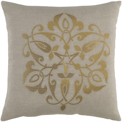 Burdette Linen Throw Pillow Size: 22 H x 22 W x 4 D, Color: Gold/Light Gray