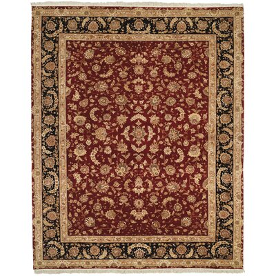 Beason Hand-Knotted Burgundy Area Rug Rug Size: Rectangle 79 x 99