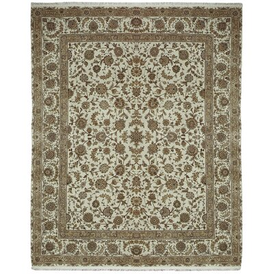 Beason Hand-Knotted Ivory Area Rug Rug Size: 79 x 99
