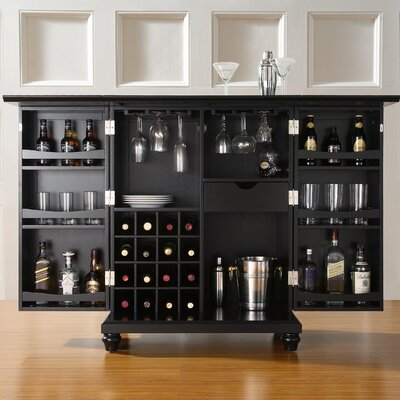 Goreville Bar Cabinet with Wine Storage Finish: Black