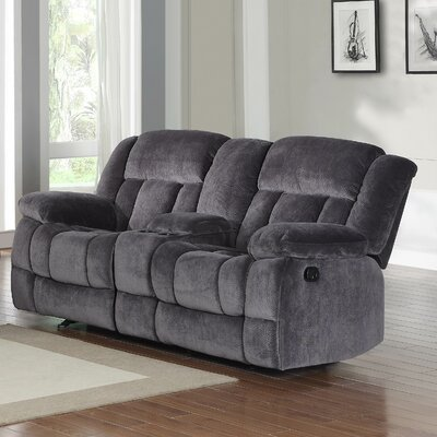 Dale Double Glider Reclining Sofa Upholstery: Charcoal