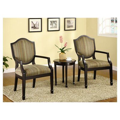 Underhill 3 Piece Cotton Arm Chair and Side Table Set Upholstrey: Espresso