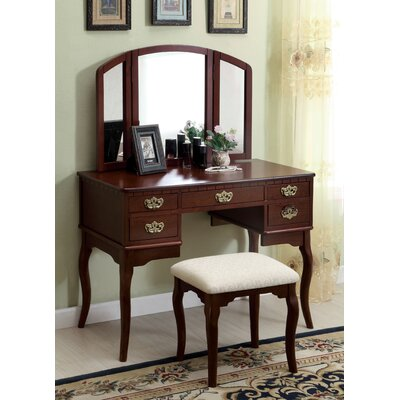 Falconer 3 Piece Vanity and Stool Set Finish: Cherry