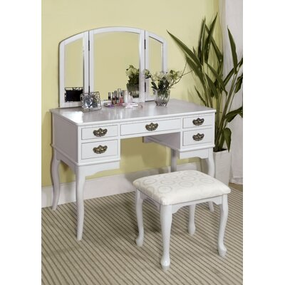 Falconer 3 Piece Vanity and Stool Set Finish: White