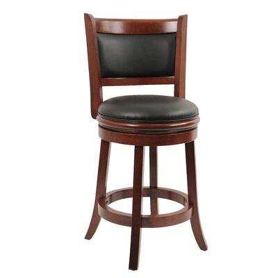Godbold 24 Swivel Bar Stool Finish: Cherry, Upholstery: Black