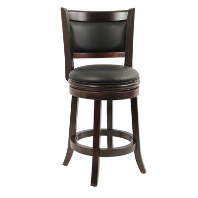Godbold 24 Swivel Bar Stool Finish: Cappuccino, Upholstery: Black