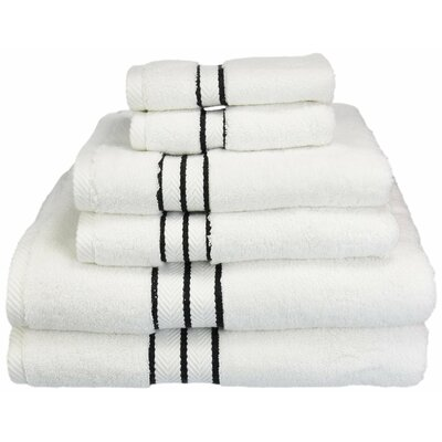 Patric Solid 6 Piece Towel Set Color: Black