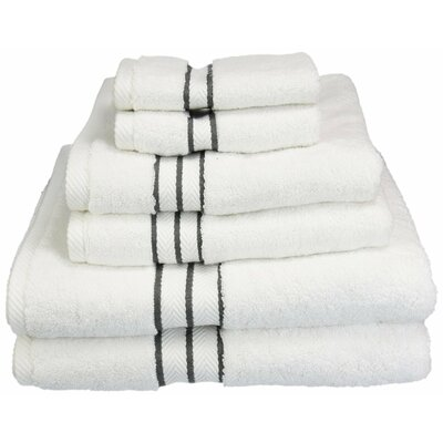 Superior 6 Piece Towel Set Color: Charcoal