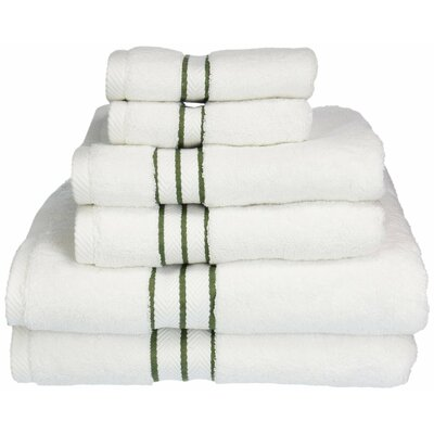 Superior 6 Piece Towel Set Color: Forest Green